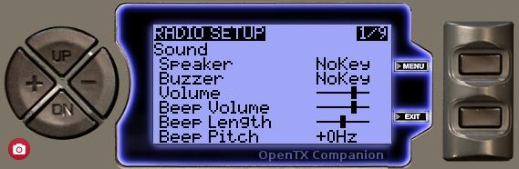 OpenTX 9XR PRO RADIO SETUP画面
