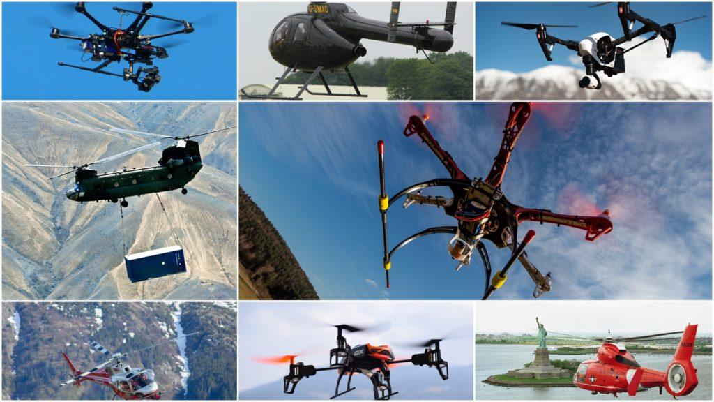 ヘリコプター・マルチコプターの種類・形・特性-トライ・クアッド・ヘキサ・オクト他